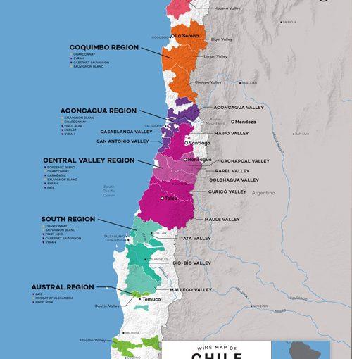 Rượu vang Chile - Các vùng trồng nho chính