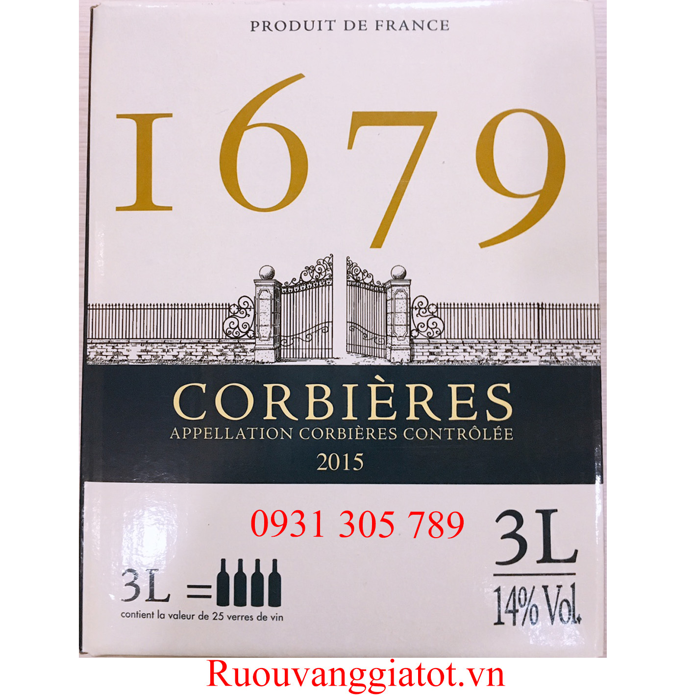 Vang đỏ bịch pháp 1679 CORBIERES 3L