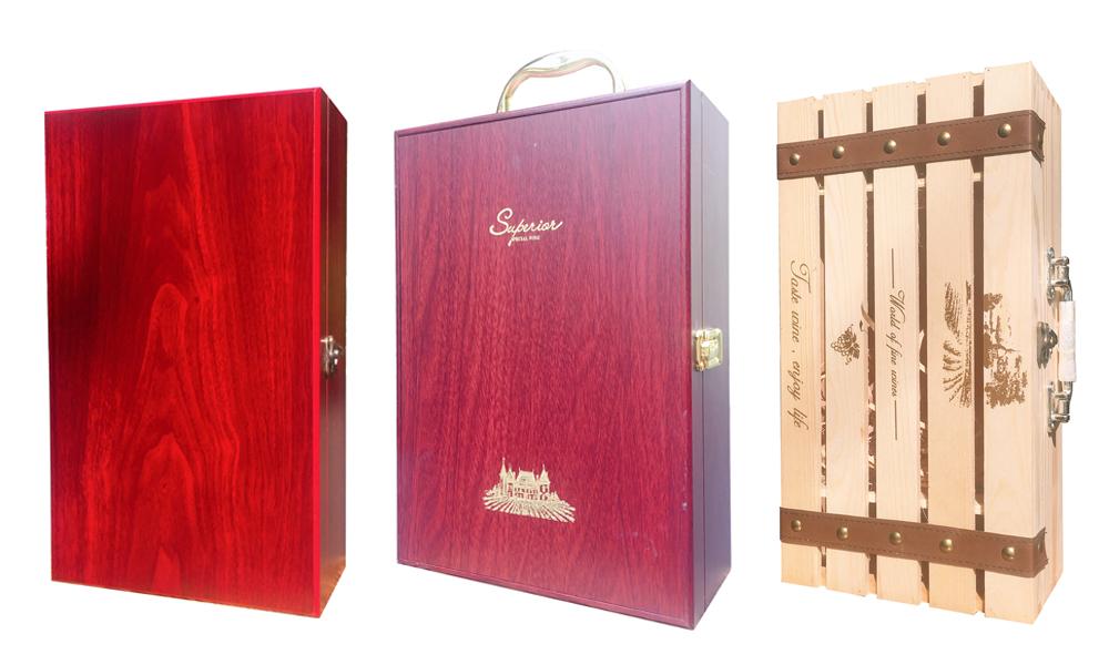 Hộp gỗ đôi đựng rượu Tết