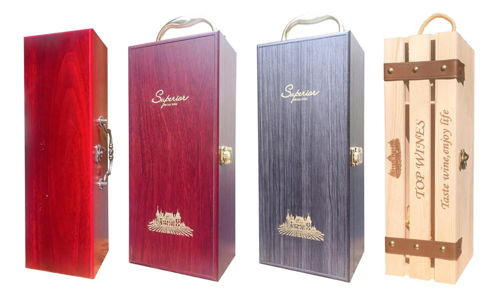 Hộp gỗ đơn đựng rượu Tết